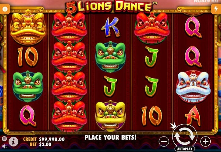 5 lions dance slot screen