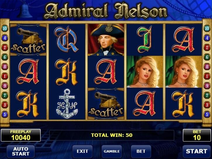 admiral nelson slot screen