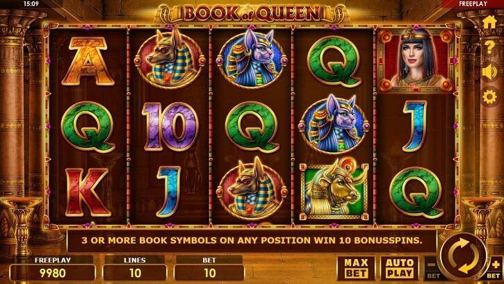 book of queen slot screen