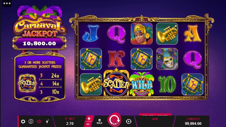 carnaval jackpot slot screen