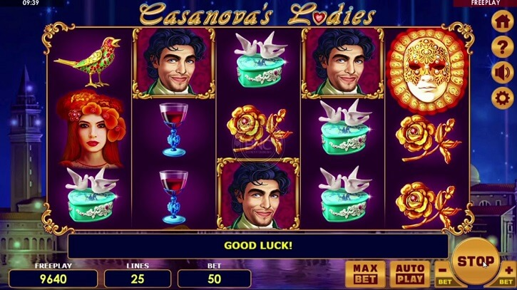 casanovas ladies slot screen