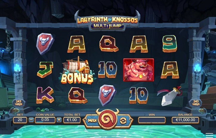 labyrinth of knossos multijump slot screen