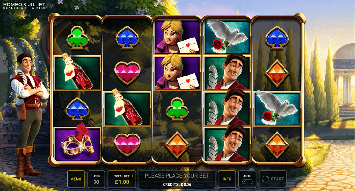 romeo and juliet slot screen