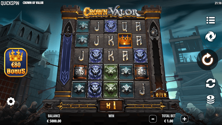 crown of valor slot screen