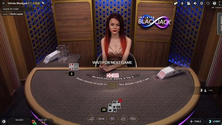 infinite blackjack game screen