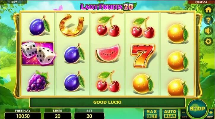lady fruits 20 slot screen