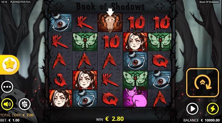 book of shadows slot screen