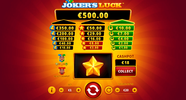 jokers luck slot screen