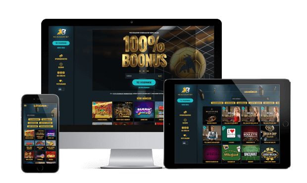 noaccountbet kasiino website screens