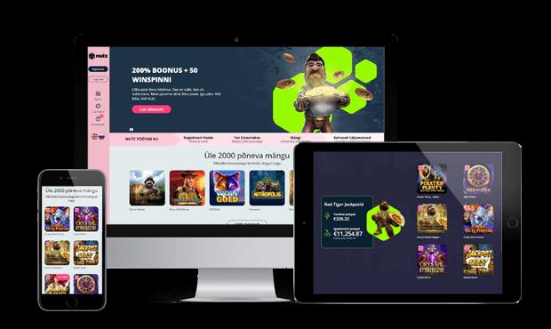 nutz kasiino website screens