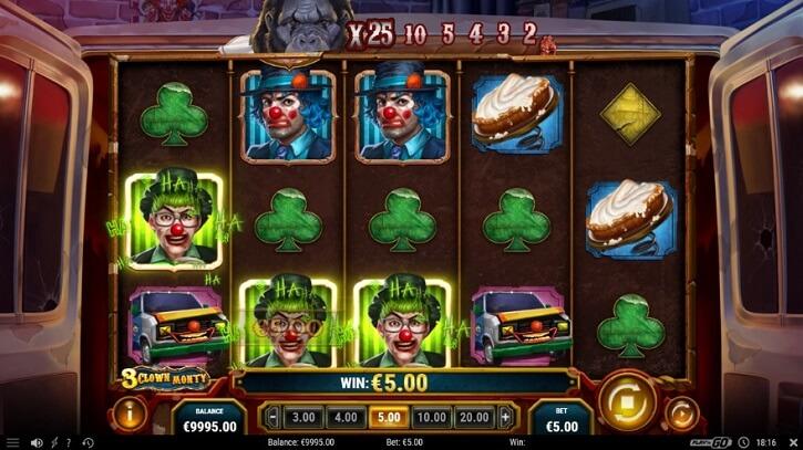 3 clown monty slot screen