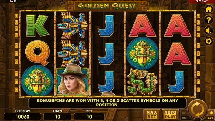 golden quest slot screen