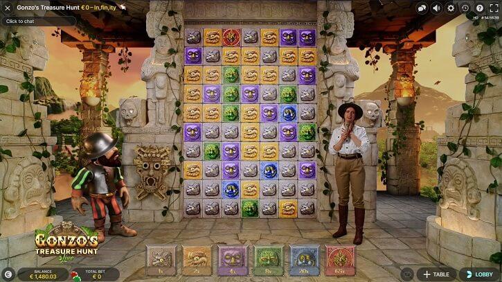 gonzos treasure hunt live game screen
