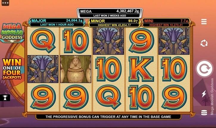mega moolah goddess slot screen