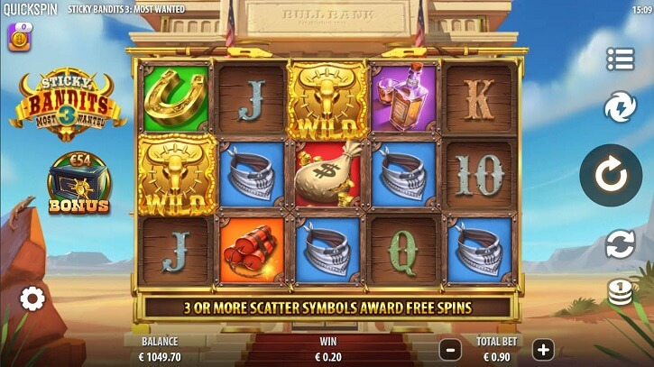 sticky bandits 3 most wanted slot screen