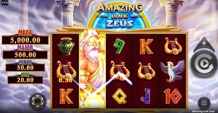 amazing link zeus slot screen