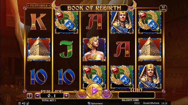 book of rebirth slot spinomenal