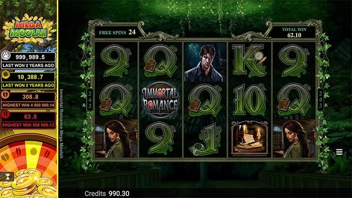 immortal romance mega moolah slot screen
