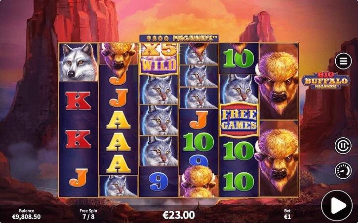 big buffalo megaways slot screen