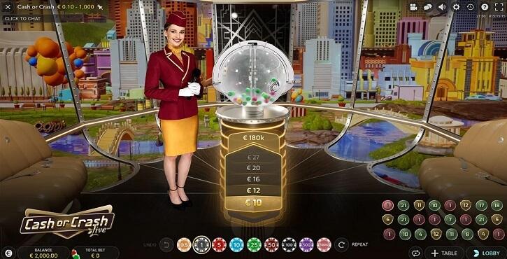 cash or crash live game screen
