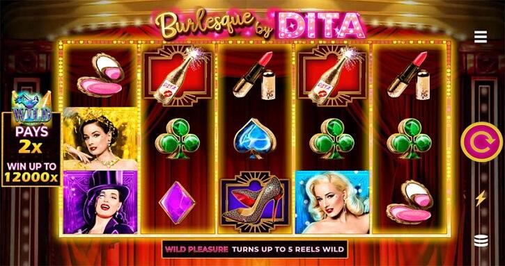 burlesque by dita slot screen
