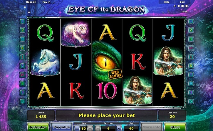 eye of the dragon slot screen