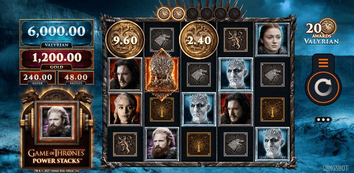 game of thrones powerstacks slot screen