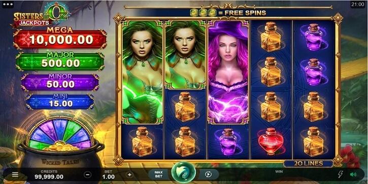 sisters of oz jackpot slot screen