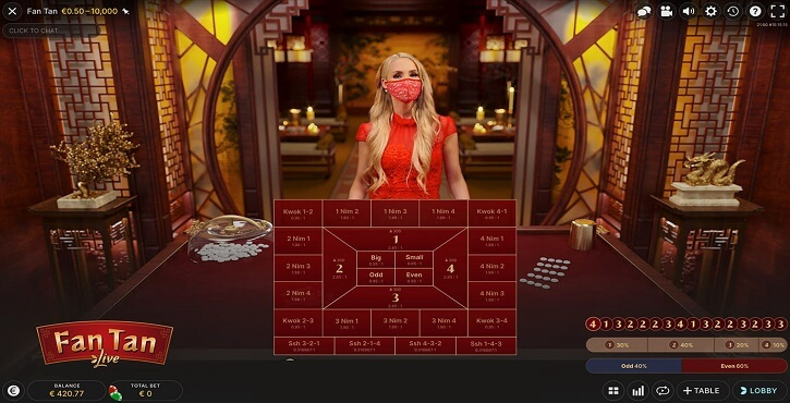 fan tan live game screen