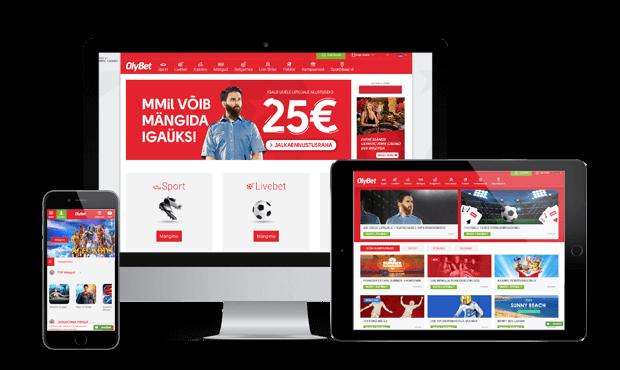 olybet kasiino website screen