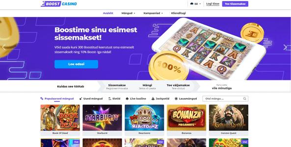boost casino website screen