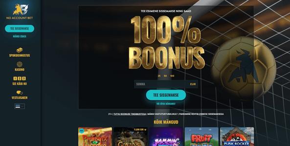 noaccountbet website screen